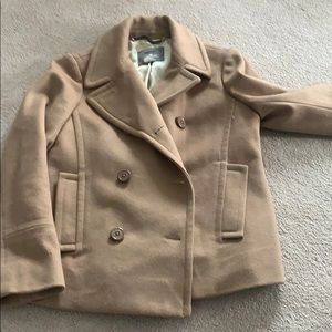 Womens camel colored pea coat made of wool